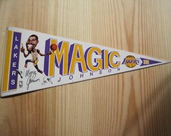 Vintage Magic Johnson Los Angeles Lakers NBA Pennant Sticker