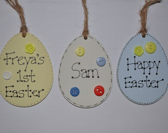 Personalised wooden Easter egg decoration