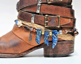 Blue Jasper Stone Beaded Boot Bracelet
