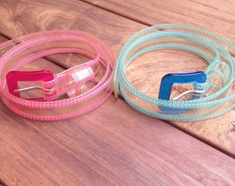 Vintage Neon Plastic Belts Set of 2