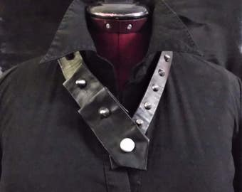 Recycled Necktie - Black Leather with studs-