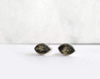 Green Amber Studs Post Stud Earring, Sterling Silver Studs, Green Earrings, Small Green Studs, Original Baltic Amber Jewelry, Atigga Shop