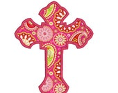 BUY 2 GET 1 FREE - Applique Cross Machine Embroidery Design - 4x4, 5x7, 6x10 - Happy Easter Christian Design