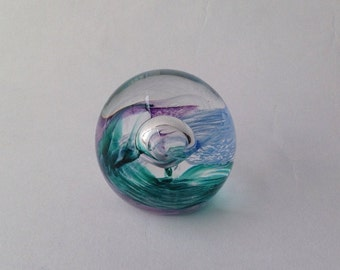 Vintage Glass Paperweight, Mid Century Art Glass.