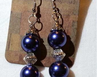 Purple & silver Glass  Metal Bead Dangle Earrings