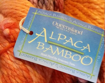 Queensland Collection Alpaca Bamboo Soft, hand dyed by Araucania yarns in color 6, purple orange