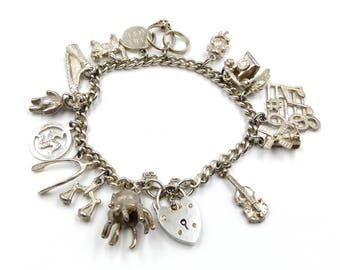 Vintage Silver Charm Bracelet With Padlock, Safety Chain And 15 Charms, 40.7 Grams