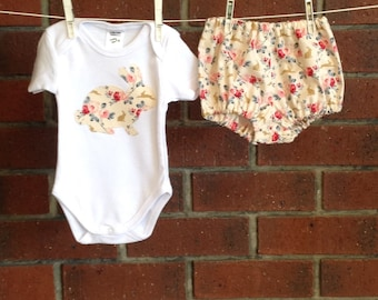 BABY EASTER OUTFIT // cream floral cotton Tilda fabric // bunny clothes girls // 3 6 12 18 mths