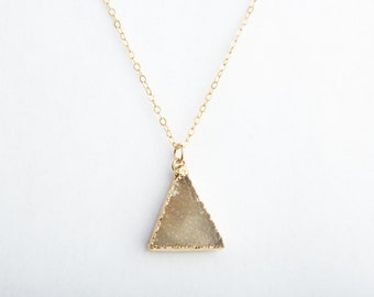 Taupe Triangle Druzy Crystal Necklace