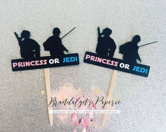 Star wars Princess or Jedi cupcake toppers set of 12, Gender reveal cupcake toppers, Luke or Leia gender reveal toppers