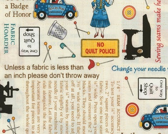 ON THE GO by Debra Gabel for Timeless Treasures {Row by Row Experience 2017} - Sewing Rules C5063 Cream