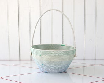 rope Easter basket, medium, soft rope basket with handle, great for kids, custom colors, modern Easter basket