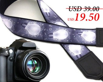Bulb camera strap. Gray camera strap for scientists and electricians. DSLR & SLR  camera strap. Men's gifts by InTePro