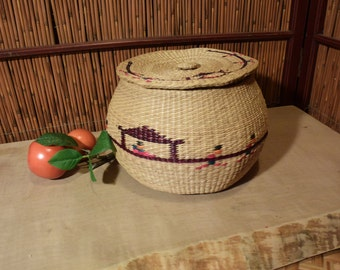 Large Asian Straw Basket / Jar with Lid
