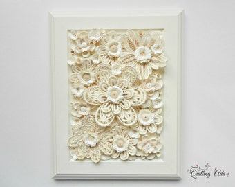 Quilling white flowers/paper art/wall art/home decor/wall hanging/Wedding Day