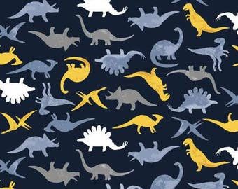 Navy Dinomania Cotton Woven, Stellasaurus by Dear Stella