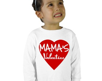 Mama's Valentine Kids Long Sleeve T-Shirt