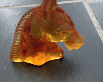 Vintage Amber/Clear Glass Horse Head Figurine
