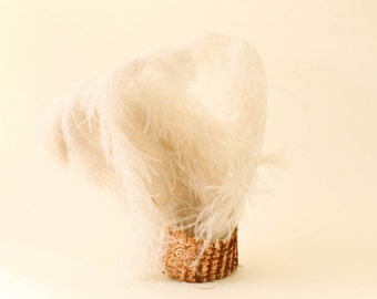 handmade mini hat with sequins and ostrich feathers