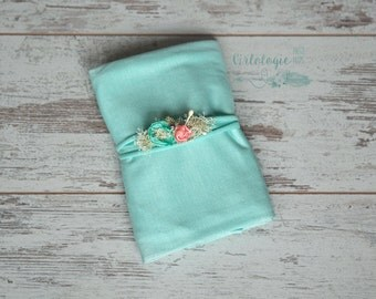 Newborn Stretch Wrap Set with 1 Tieback  * Seafoam & Coral * Jersey Knit  * Photo Prop * Newborn Wrap * Baby Headband