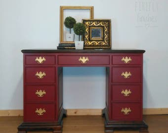beautiful solid wood nine drawer painted and dark stained desk