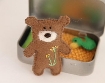 Tiny Teddy Bear Toy in Tin House, Busy Bags Play Time, Birthday Party Favor, Church Game, Travel Toy, Pocket Worry Doll, Baby Shower Gift