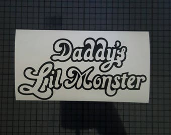 DC Comics Decal - Harley Quinn Daddy's Lil' Monster Shirt Design - 16 colors & Multiple Sizes