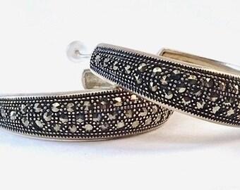 Large vintage sterling silver marcasite hoop earrings, marcasite jewelry, silver earrings, big hoop earrings, classic earring, women earring
