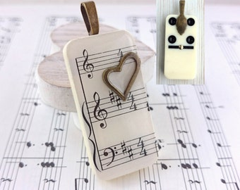 SALE Music Sheet Necklace. Domino Pendant. Music Lover. Gift For Musician. Music Necklace. Treble Clef. Music Notes. Music Jewellery