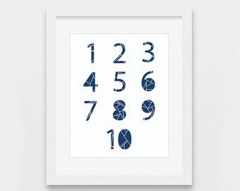 Numbers Print, 123 and ABC Prints, Geometric Typography Art Print, Modern Baby Room, Navy and White Nursery Decor, Baby Decor 11 x 14 8 x 10