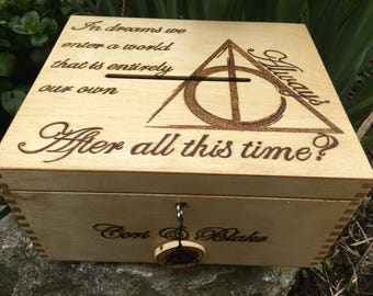 Deathly Hallows inspired card box chest, always, lockable keepsake box with posting slot, Harry Potter, box can be personalised