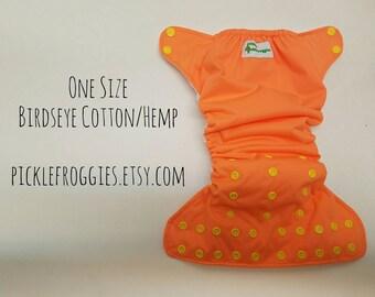 One Size Sherbert Orange AIO diaper Cotton/Hemp