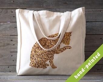 cat tote bag, Cotton tote bag, Eco bag, cat bag, cat tote, hand-painted tote bag, tote bag, cat lover gift,  cat, tote, cat gift, cat lover