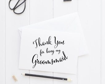 Printable Groomsmaid card, instant download wedding party card, bridal party card digital download, on my wedding day thank you card