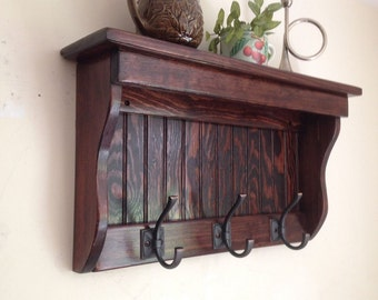 """24"""" Handcrafted Wood wall mount Coat Rack, Display Wooden Shelf Key Hook, Red Mahogany, White, and other sizes and stains"""