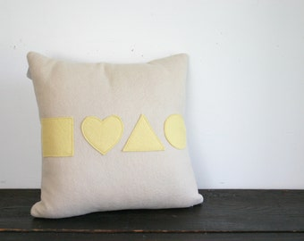 Basic Geometic Shapes Modern Cream and Butter Yellow Wool Felt Throw Pillow