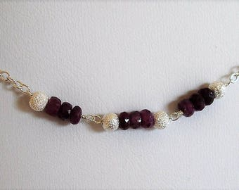 Ruby & sterling silver beads on sterling silver chain bracelet