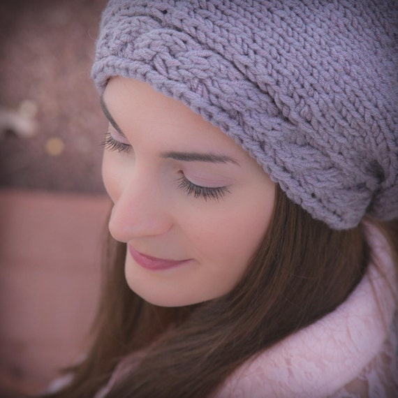 Loom Knit Cable Stitch Hat : Loom Knit Beret PATTERN with Cable Brim, Ladies Hat. Painters beret, PDF PATT...