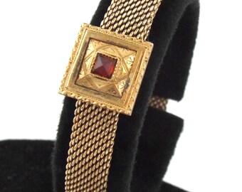 1880s - Antique Victorian Rose Gold Filled w/ Ruby Mesh Bracelet