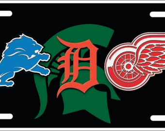 Detroit Michigan State sports teams Custom License Plate combined logos Lions, Tigers, Red Wings