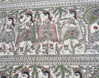 Beige Handloom Cotton Fabric 20%SALE,Block Print Cotton Madhubani Print,Dress Fabric,Indian fabric By Yard,khadi Cotton
