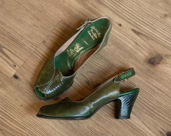 Erin shoes | vintage 40s shoes | green peeptoe pumps | vintage 40s green reptile heels | Palizzio New York | 1940s green leather pumps | 6.5
