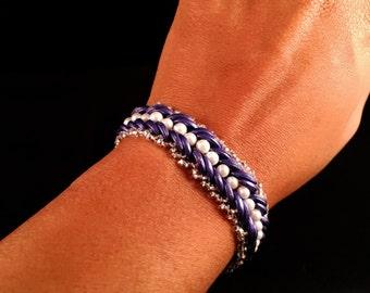 Purple Crescent Beaded Bracelet