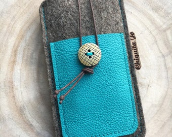 Mobile phone Pocket wool felt & leather TURKESA 2