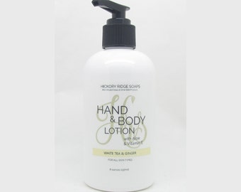 White Tea and Ginger Hand & Body Lotion Moisturizer Cream with Aloe and Vitamin E - Natural Lotion, Body Lotion, Hand Cream
