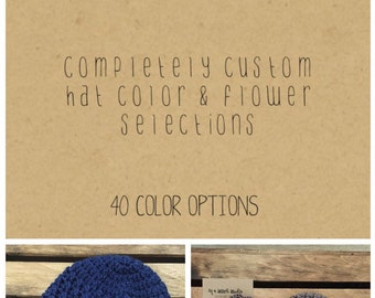 Interchangeable Flower Newsboy Hat in Custom Colors // Changeable Flower Beanie with Brim // Crochet Knit Brimmed Hat with Flowers
