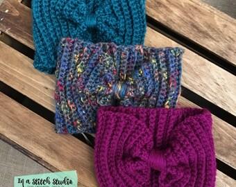 Ribbed Earwarmer Headwrap // Crochet Knitted Earwarmer // Headband // Headwrap // Bow Headband