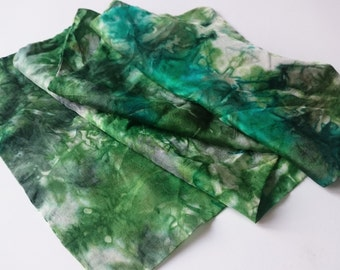 Hand painted silk Men Scarf Green silk Handmade men accessories  Gift for Him Christmas gift Ready to ship