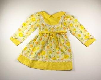 Vintage 70's Girl's Yellow Flower Dress