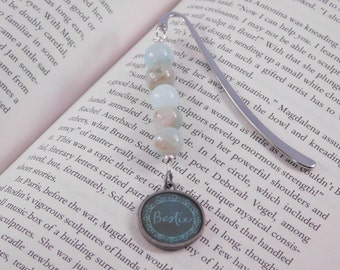Best Friend Bookmark - Mini Metal Bookmark - Blue-Green Beaded Boomark - Bestie - Gift for Friend